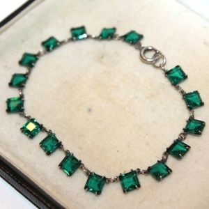 ATQ ART DECO Green Czech Glass Sterling Bracelet